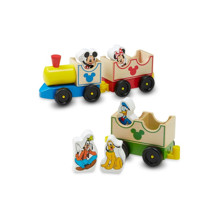 Disney Mickey Mouse and Friends All Aboard Wooden Train by Melissa and Doug, Multicolor