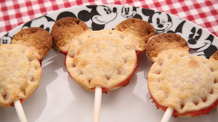 Mickey Mouse cherry pie pops | Take Mickey along all your outdoor adventures with this easy-to-make pie pop recipe! | [ http://family.disney.com/recipe/mickey-pie-pops ]