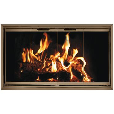 Fireplace glass doors and Brick