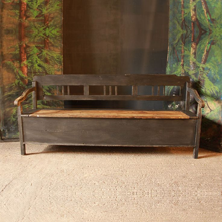 Antique Pine Box Bench in Old Grey