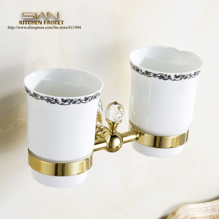 Free Shipping Luxury European Golden Copper Toothbrush Tumbler Cup Holder Wall Mount Bath Product Modern accessories 3A71921