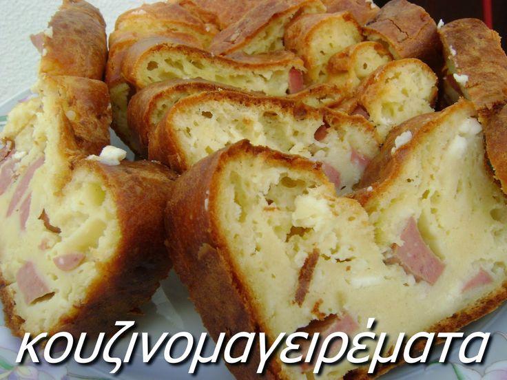 Κέικ αλμυρό με λουκάνικα και τυρί φέτα   Κουζινομαγειρέματα