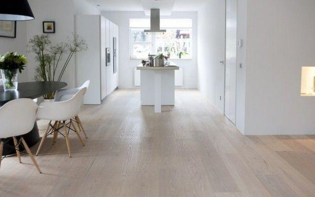 Houten vloer in combinatie met moderne keuken.