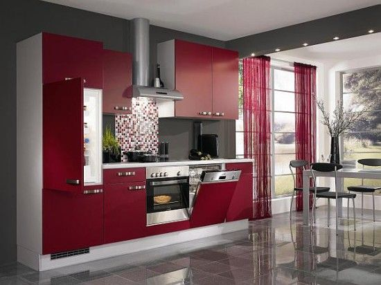 Elegant And Awesome Red Kitchens Design : Glossy Kitchen With Red Chest Of  Drawer And Red Wall Cupboard And Red Cabinet With Grey Floor With Grey  Table And ... Part 90