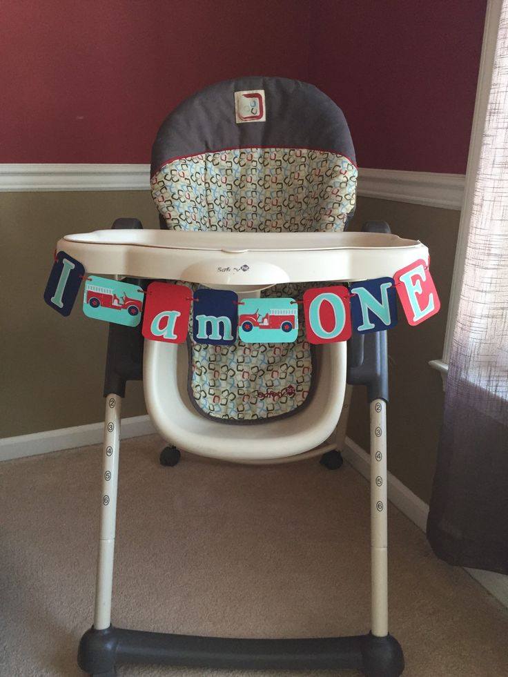 Vintage Fire Truck  I AM ONE Birthday High Chair banner, Perfect for a Vintage Fire Truck first birthday theme by HandmadeByVee on Etsy