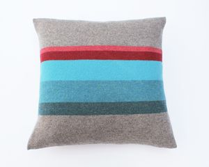 Image of CUSHION - GREY/COLOUR STRIPE MADE IN SCOTLAND LUCY DONNELL.CO.UK