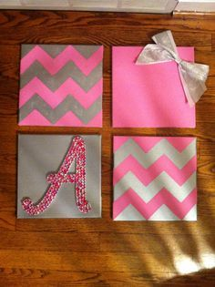 cute canvas art idea for little girl's room - four canvases, two colors, two painted chevron, one with letter, and one with a bow.