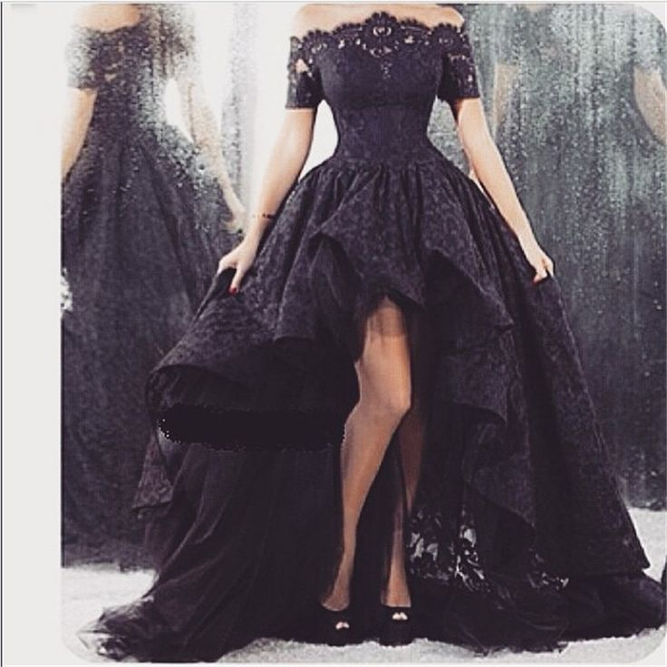 Summer Style Black Lace Evening Dress Front Short Back Long Evening Gowns vestido de festa
