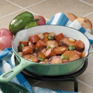 Bratwurst Potato Skillet Recipe: since we have a huge bag of frozen brats right now!