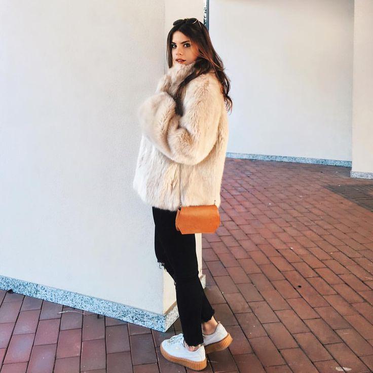 Francesca Cinu00e0 instagram @myway_ verysimple Faux fur coat and Puma Fenty creepers be rihanna ...