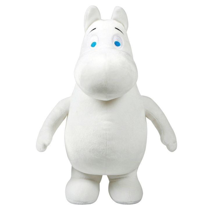 A sweet soft Moomintroll plush-toy, height 40 cm. Perfect for a little cuddling! Beautiful white colored Moomintroll with blue eyes. Ready for you to make him yours.
