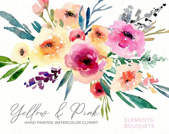 Watercolor Flowers Clip Art Floral Watercolour Digital Instant