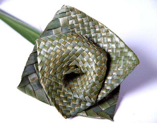 Beautiful split woven natural flax flower