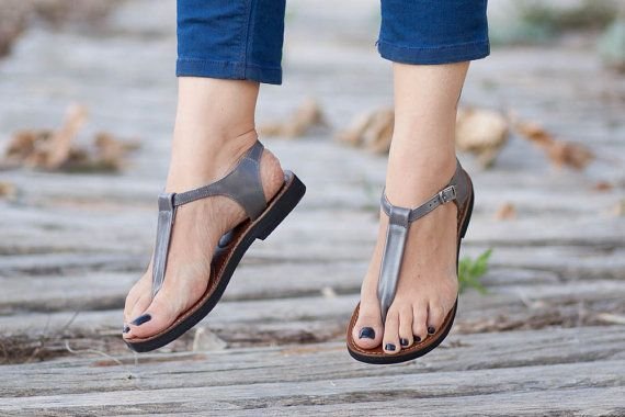 20 Off Free Shipping Grey Leather Sandals Grey by BangiShop, $82.00  These are handmade in Israel!