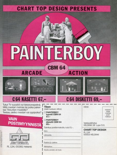 Painterboy ad in MikroBitti magazine (12/86).