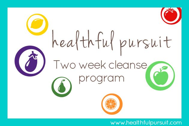 Healthful Pursuit Two Week Cleanse Program: Reduce sugar intake and increase fruit/vegetable intake. Links to recipes.