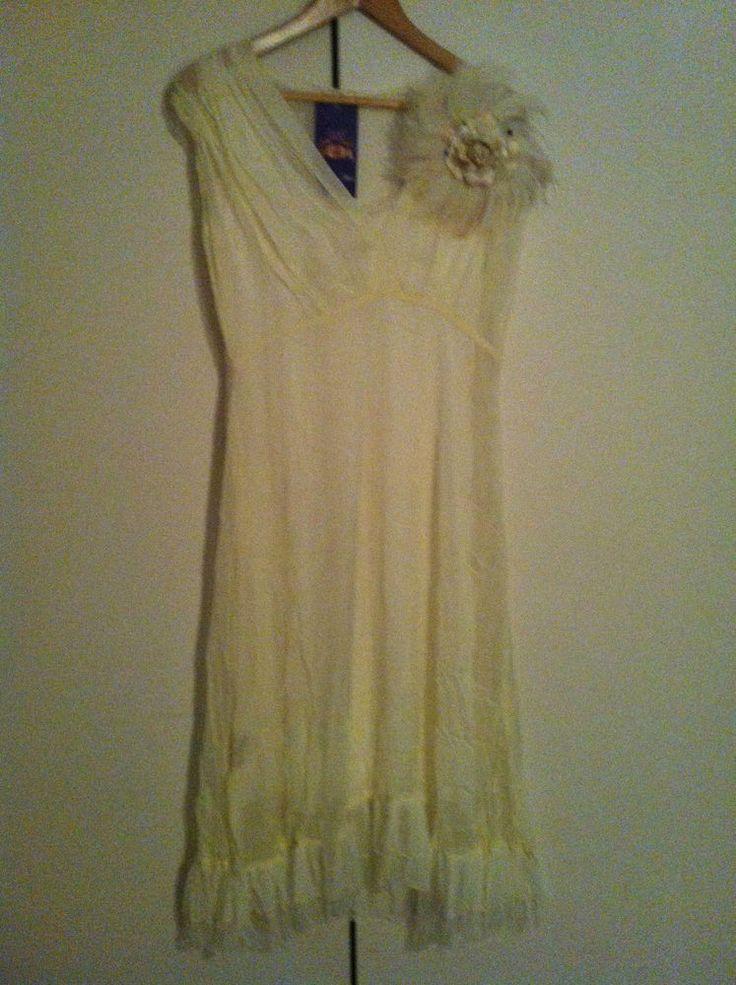 Beautiful Silk Chiffon Ivory Dress w/slip 78% off - 72HR CLICK FRENZY SPECIAL!