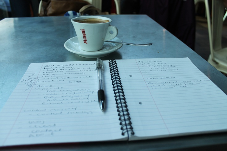 My two favourite things: strategising about my copywriting business, www.thereadywriter.co.uk, and a jolly good cup of americano!