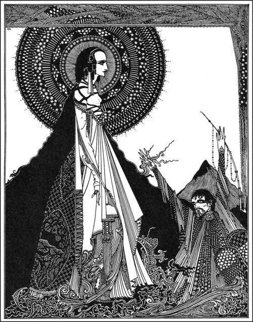 """Я бы назвал вслух по ее имени.  Гарри Кларк, Иллюстрация к """"Лигейи"""" из рассказов Эдгара Аллана тайны и воображения, 1923 (источник)."""