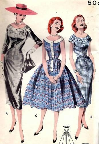 50s 60s Butterick 8058 Wiggle Dress B34/14