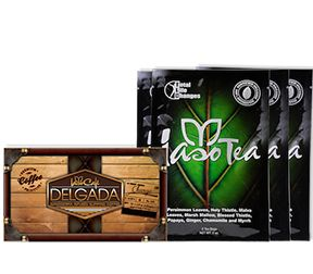 """WEIGHT LOSS KIT 2 Works faster than a crime fighter. Infused with Ganoderma, Iaso™ Café Delgada gives you the freedom to Wake & Make & Lose Weight on the go with its portability packs. Combined with the cleansing and detoxifying effects of Iaso™ Tea's herbal blend, this duo is a sure fire way to start to feel great! No wonder we call this kit """"The Dynamic Duo""""."""