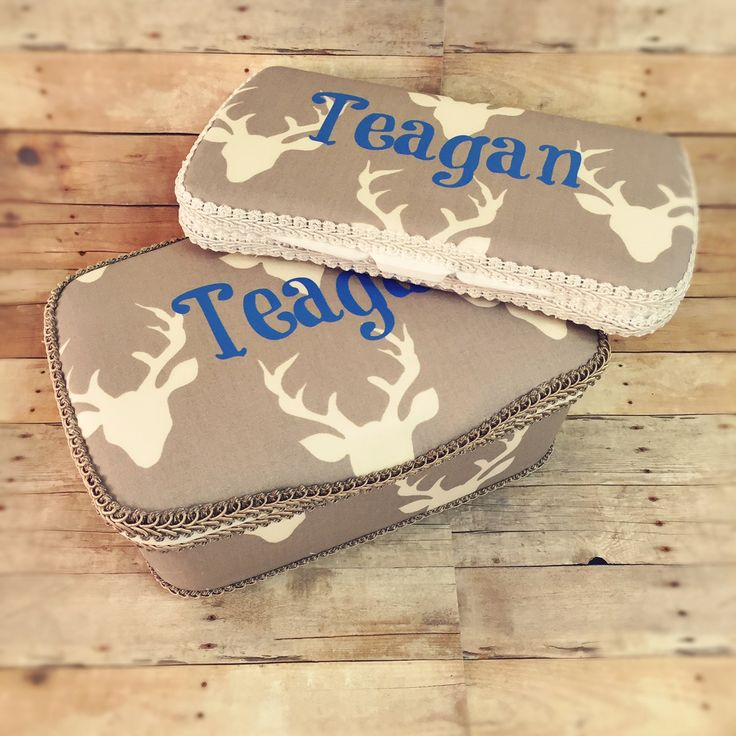 Deer baby wipe case Antler diaper wipe case antler wipes holder personalized deer baby wipes case Set of 2 antler baby nursery antler bag by Ajobebe on Etsy