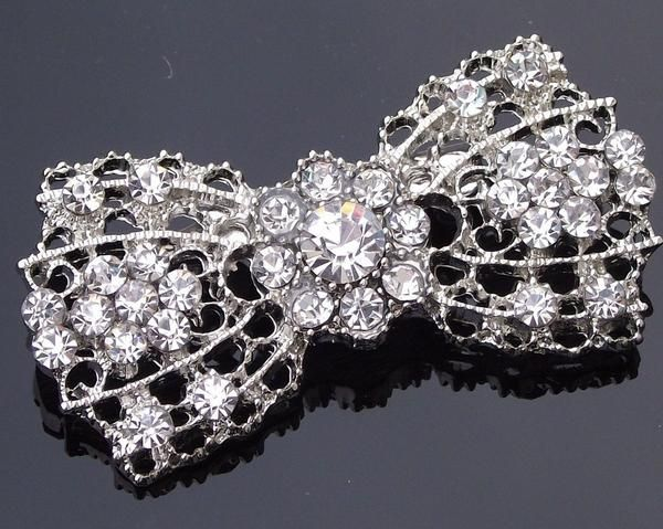 Wedding Brooches - Vintage Style Crystal Bow Brooch/Hair Clip, Simone