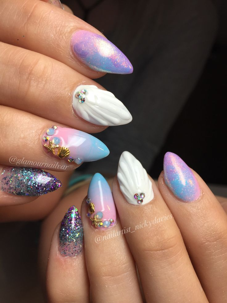 Mermaid 1 glitter nail white,pink, and purple glitter - Best 25+ Mermaid Nail Art Ideas On Pinterest Summer Nails, Nail