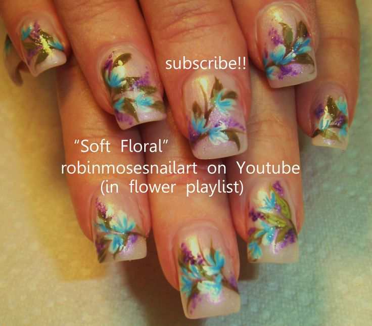 Nail-art by Robin Moses SOFT floral  http://www.youtube.com/watch?v=9EfROIc2u-c