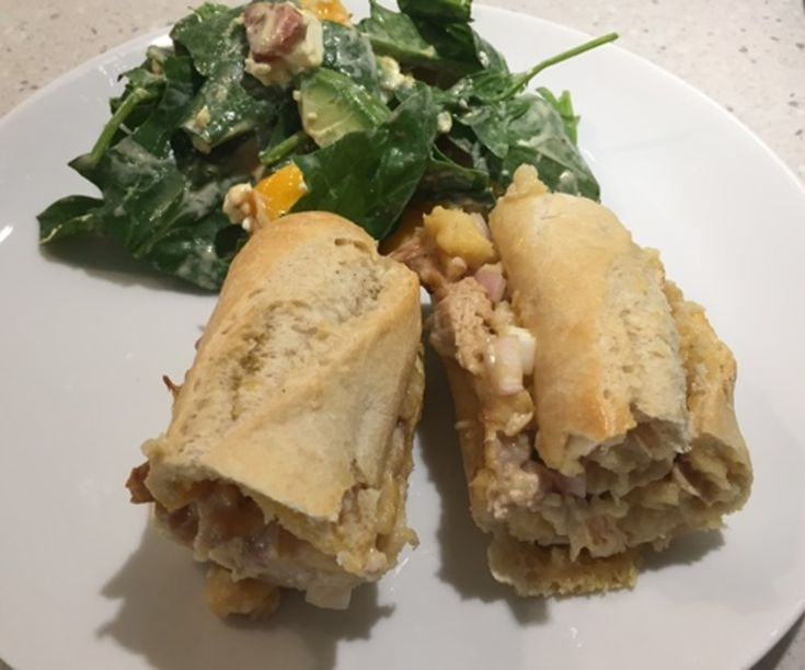 CHICKEN AND CHEESE BAGUETTE WITH A MANGO AND AVOCADO SALAD http://recipeyum.com.au/chicken-and-cheese-baguette-with-a-mango-and-avocado-salad/