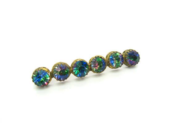 Victorian Bar Pin. Bohemian Glass Brooch. Heliotrope Glass.