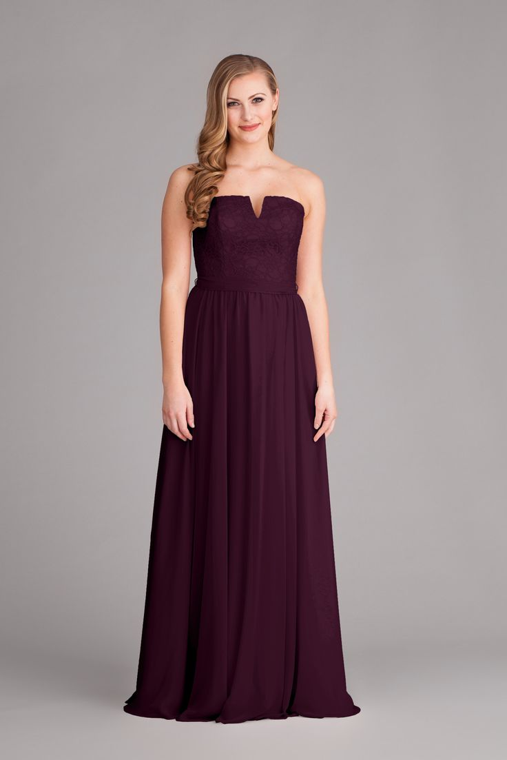 142 best lace chiffon bridesmaid dresses images on pinterest a unique strapless eggplant purple bridesmaid dress with a chiffon skirt and lace bodice ombrellifo Image collections