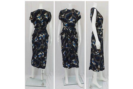 1940's Print Silk Dress OOAK Size 4
