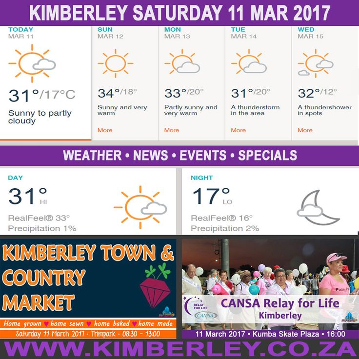 KimberleyToday, Saturday 11/03/2017 - http://www.kimberley.org.za/kimberleytoday-saturday-11032017/?utm_source=PN&utm_medium=Pinterest+History+KImberley.org.za&utm_campaign=NxtScrpt%2Bfrom%2BKimberley+City+Info - #KimberleyToday, Saturday 11/03/2017 The weather forecast for today is; Breezy this morning; otherwise, sunny to partly cloudy and pleasant. Tonight; Clear to partly cloudy.  Max UV Index:9 Fire Danger:Low Thunderstorms:0%  #KimberleyEvents @.