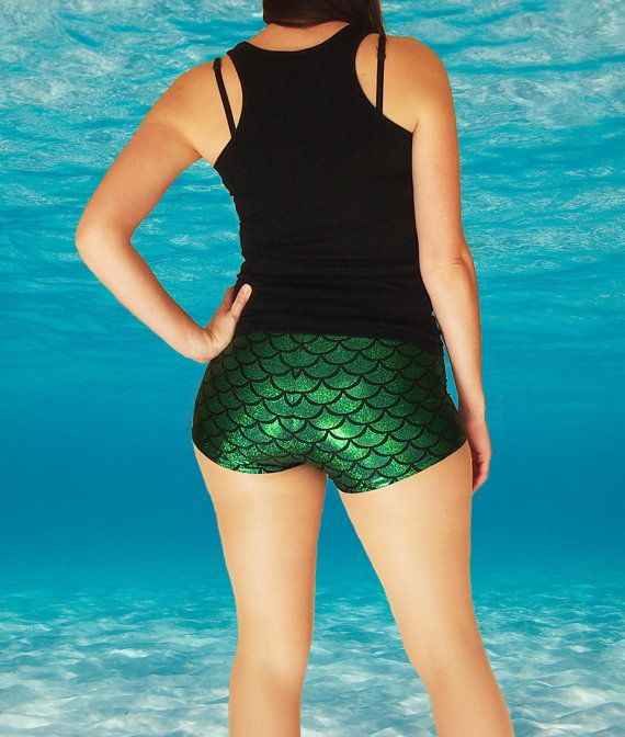 Shiny Green Mermaid Fish Scale Roller Derby by HellcatClothing