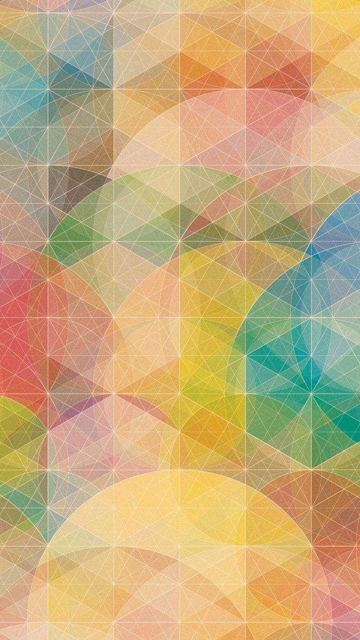 暖色のカラフルな幾何学模様 iPhone6 Plus 壁紙