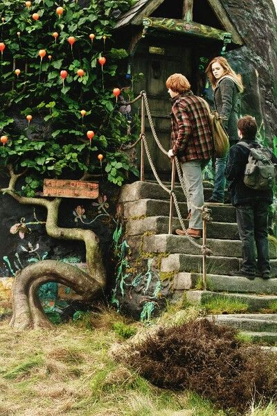 Harry, Ron and Hermione entering Luna Lovegood's house