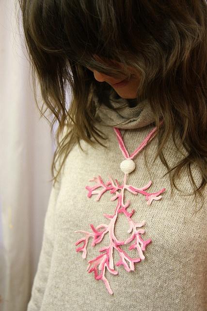 crochet coral necklace