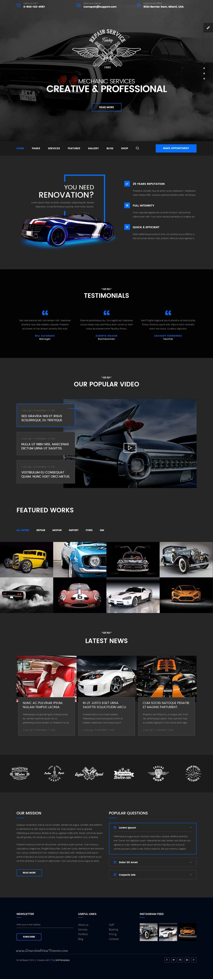Mechanic car repair tuning routine maintenance html template with visual builder