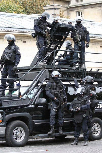 GIGN team with their vehicle