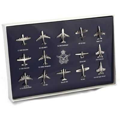 Defence Gifts - RAAF Aircraft Lapel Pin Set In Gift Box, $65.00 (http://www.defencegifts.com.au/raaf-aircraft-lapel-pin-set-in-gift-box/)