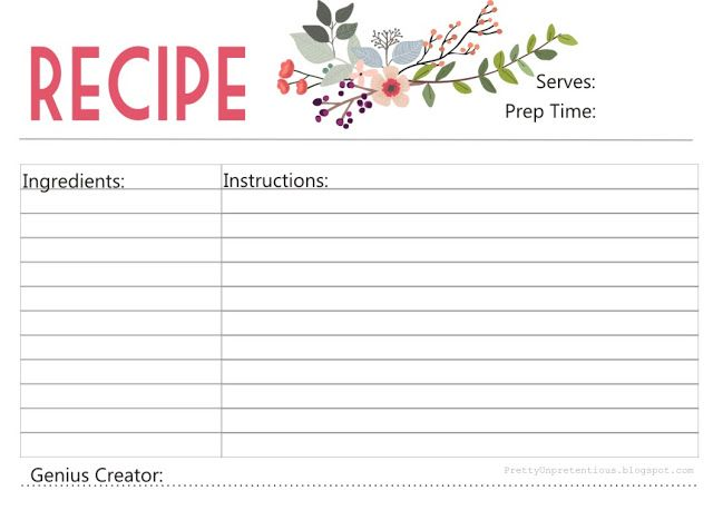 74 best Free Recipe Cards\/Pages images on Pinterest Free - free time card template