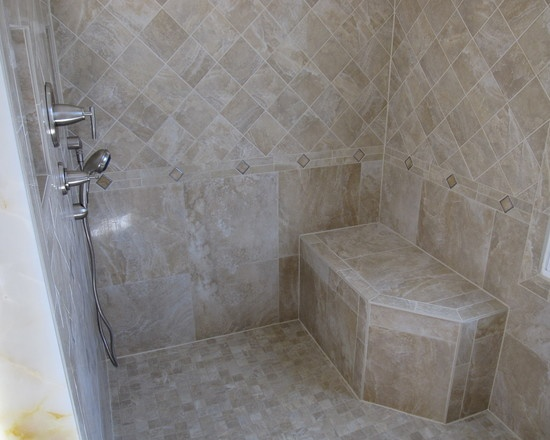 Traditional Bathroom Tile Shower Stall Design