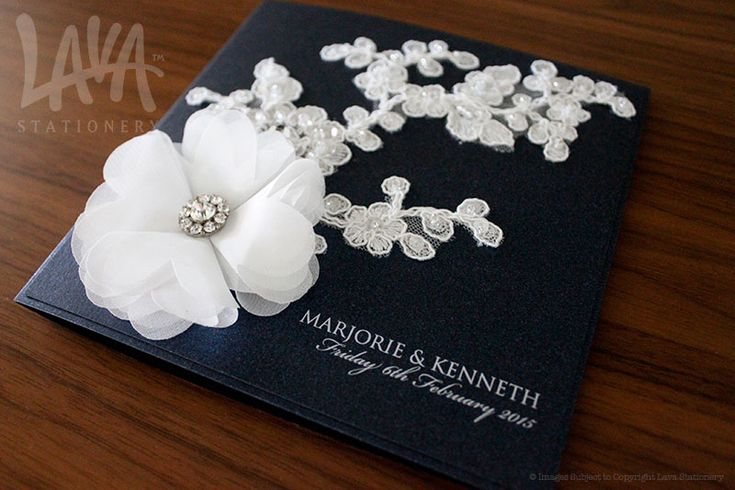 Lace and chiffon flower wedding invitation by www.lavastationery.com.au