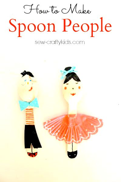 how to make spoon people wooden spoon crafts cupcake crafts #kids crafting sew-craftykids.com