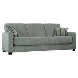 "Eco-friendly sleeper sofa with gray chenille upholstery.Product: Sleeper sofa with pillowsConstruction Material: Steel, wood and fabric      Color: Gray and espresso    Features: Transitional style   Innovative engineering and design   Easily converts into a full size bed     Dimensions: 34"" H x 83"" W x 38.5"" D"