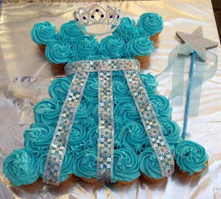 Blue princess cupcake cake