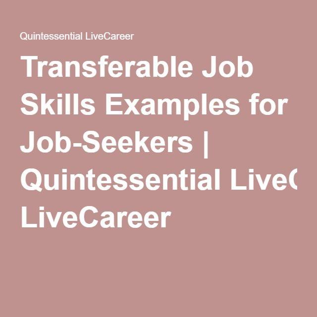 Transferable Job Skills Examples for Job-Seekers | Quintessential LiveCareer
