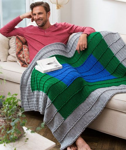 Guy's Reversible Throw Free Crochet Pattern from Red Heart Yarns