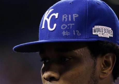 Kansas City Royals pitcher Yordano Ventura has an RIP O.T. #18 on his hat as he walks off the field during the first inning of Game 6 of baseball's World Series against the San Francisco Giants Tuesday, Oct. 28, 2014, in Kansas City, Mo. .(AP Photo/David J. Phillip) ▼29Oct2014AP Royals rout Giants 10-0 to force Game 7 in Series http://bigstory.ap.org/article/7ccf7d072d2a4a22aa894b8cfd379fd6 #World_Series_2014